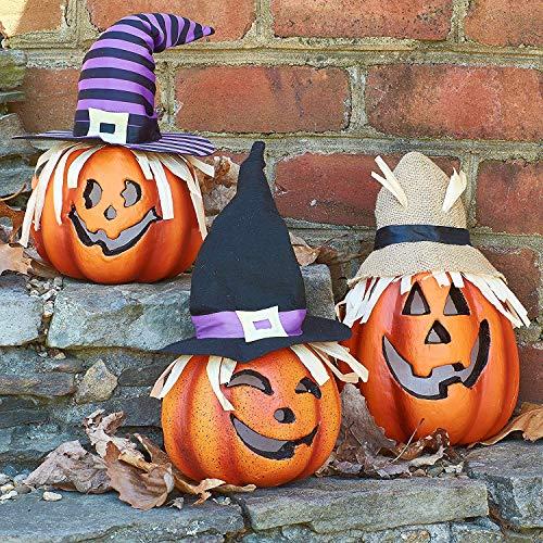Prextex 3er-Set leuchtende Happy Halloween Laternen, dekorative Kürbisdeko aus Schaumstoff für Halloween und zur Dekoration Ihres verwunschenen Hauses.