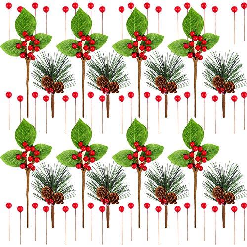 120 pezzi pino artificiale bastoni bacche rosse di natale inverno bacche agrifoglio mazzo con foglie finte mirtilli grappolo per le composizioni floreali corona albero di natale tavolo centrotavola