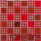 Glasmosaik Fliesen rot perlmutt Wand Boden Dusche WC Küche | 10 Matten | Art: es-54336_f