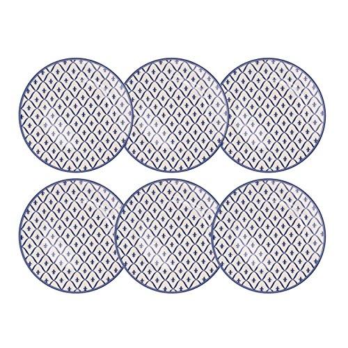 Depot d'argonne Fleur de lys Motif 6 Assiettes à Petit-déjeuner, céramique, Bleu, 22.5 x 22.5 x 2.5 cm
