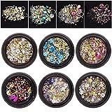 Juanya 6 Scatole Strass Per Unghie Artistiche Decorazione Unghie di Perline Cristalli Gemme Miste 3D per Accessori Fai da Te Multi Color
