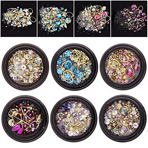 JuanYa 6 pots de pièces de strass, de perles en diamant, de cristaux, de pierres précieuses mixtes pour ongles - À faire soi-même -Décorations d'accessoires (01#)