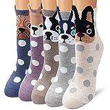 Ambielly Socken aus Baumwolle Thermal Socken Erwachsene Unisex Socken (5 Punkte Hunde)