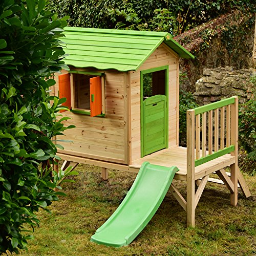 Chestnut Wooden Painted Tower Playhouse With Slide Easy Assembly