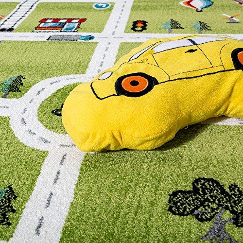 Paco Home Kinderteppich Spielteppich City Hafen Straßenteppich Stadt Straße Grau Grün, Grösse:120x170 cm - 2