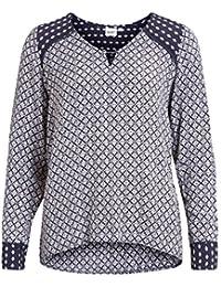 Object Claire Damen Tunika mit All over Print | Bluse mit Muster | Blusen-Shirt langarm mit V-Ausschnitt