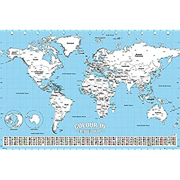 Amazon.de: Close Up Weltkarte Poster zum Ausmalen (91, 5cm x 61cm) + ...