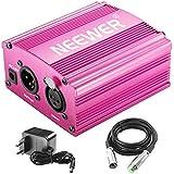 Neewer 1-canal 48V Phantom Fuente rojo rosa con adaptador, Cable de micrófono bono XLR 3 Pin para cualquier micrófono condensador de equipamento grabación música(8 feet)