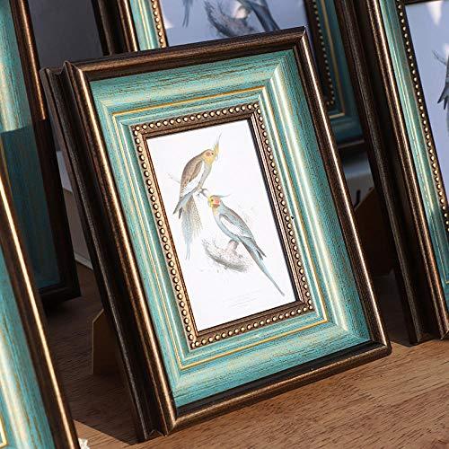 Bilderrahmen Vintage Retro Einrichtung Wand Bilderrahmen Horizontal Und Vertikal-Innendurchmesser 15.2 * 20.3 (Hängend Und Schwingend)_Retro Blau