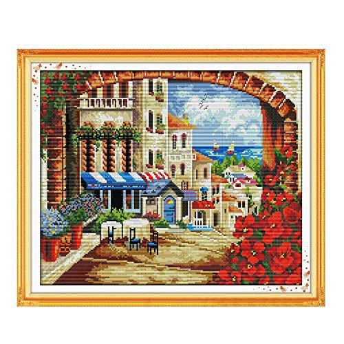 Anself Fai da te a mano Needlework contato Scenery modello Punto Croce Set ricamo Kit 14CT Mediterraneo punto croce 45 * 38 centimetri Home Decoration