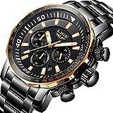 Watch-LUTEM Herren Chronograph Luxus Wasserdichte Armbanduhren Uhr Uhren mit Edelstahlarmband, Business Casual Uhr, Leuchtzeiger, Minute/Sekunde/Kalenderanzeige