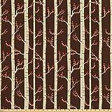 ABAKUHAUS Wald Satin Stoff als Meterware, Birken im Herbst,