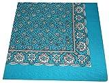 Tobeni 548 Bandana Kopftuch Halstuch Nickituch in 100 Baumwolle für Damen und Herren Farbe Paisley Türkis Grösse 54 cm x 54 cm