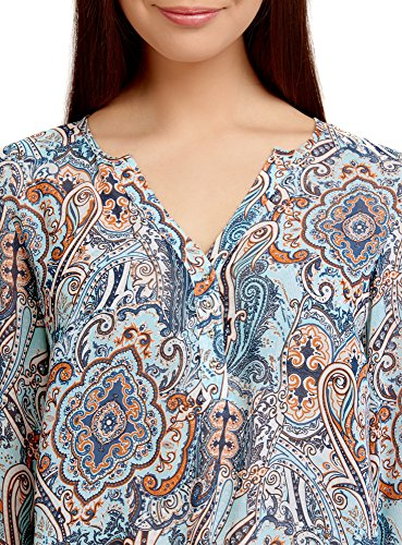 oodji Collection Femme Blouse Mousseline Imprimée Turquoise (7331E)