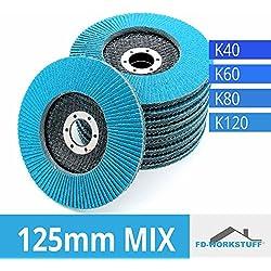 Lot de 20disques Inox compartiments Mix Pack (4x 5) 125mm Grain mélangées par 5x 40/60/80/120/Inox à lamelles ponçage Mop économie d'assiette Pack