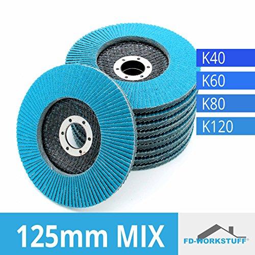 20 INOX Fächerscheiben MIXPACK (4x5 Stk) 125 mm Gemischte Körnung je 5 x 40/60/80/120 INOX Fächerschleifscheibe Schleifmopteller Sparpack Edelstahl 4 Lamellen