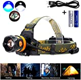 MakeTheOne XM-L LED Headlamp Comfortable Headlight Hand-free Weatherproof Head Torch-Powerful Head Lamp + Rechargeable USB Charger + 2 * 18650 Battery Combo-for Cycling Climbing Fishing Gardening Hunting Night Activities.