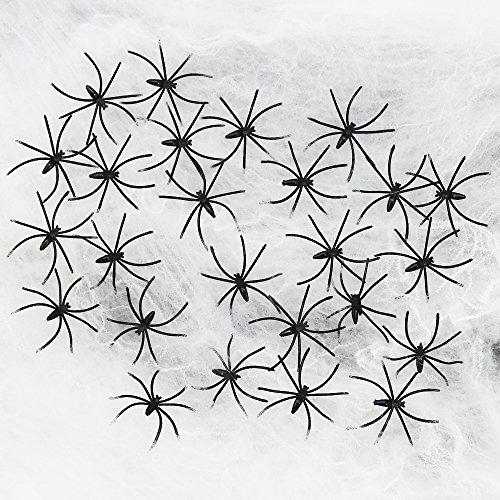 oween Spinnennetz mit 25 schwarzen Spinnen, Spinnengewebe als Deko für Halloween, Fasching und Mottopartys (Hängen Spinnweben Halloween)