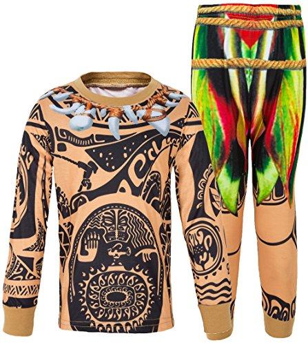 AmzBarley Maui Boys Pjs Schlafanzug fur Jungen Kinder Pyjama Alter 1-10 Jahre (18-24 Monate, Braun Long 2)