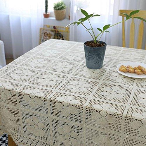 BLUELSS Romantische Stricken gehäkelte Tischdecke Rechteck Floral hohle Spitze Tischdecke aus Baumwolle Party Hochzeit Tisch Dekoration Tischdecke 140 x 140 cm