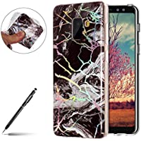 Funda Mármol Samsung Galaxy A8 Plus, Galaxy A8 Plus Marmol Funda Cascara,Uposao Samsung Galaxy A8 Plus Funda Brillante Brillo Purpurina Case Carcasa de Silicona Suave Case Cover oft TPU Gel Carcasa Funda para Samsung Galaxy A8 Plus Cascara Ultrafina Transaprente con Mármol Dibujo,Lujo Elegante Glitter Resistente Anti-Rasguño Cubierta Carcasa para Samsung Galaxy A8 Plus - Negro/Blanc