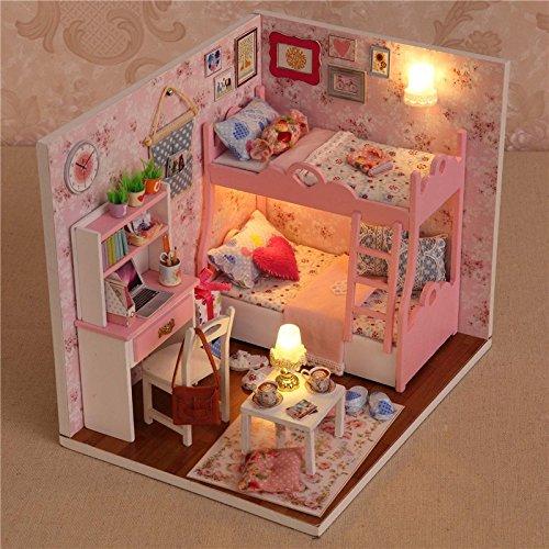 Case Delle Bambole LED Luce Mini, Regalo di Natale Regalo di Compleanno Per Bambini Dollhouse Fai Da Te Casa delle Bambole con Set Regalo, Arredamento e Luci Sorpresa di Natale - OUTERDO