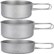 zeare Titan-Kochgeschirr-Set, sehr leicht,  für Camping, Wandern, Aktivitäten im Freien, Picknick, zum Kochen auf einem Herd, einfach zu tragen
