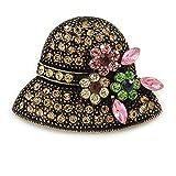 Avalaya retro champagne cristallo cappello spilla in metallo oro antico–35mm di diametro
