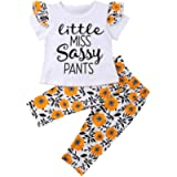 waitFOR Baby Rompers Girls Letter Print Short Sleeve Ruffle Overalls Tops + Floral Pattern Long Pants, Pajamas Infant…