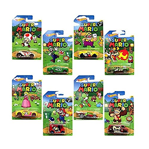 Hot Wheels, Super Mario, Bundle of 8 Die-Cast Cars, 1:64 Scale