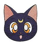 Sailor Moon Patch (9cm) schwarz LUNA Katze bestickt Eisen/Nähen auf Badge Aufnäher