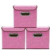 YSDRoyal Griffe Aufbewahrungsboxen 3-Pack Leinen Stoff Faltbare Korb Würfel Organizer Boxen Container Schubladen mit Deckel und Griffe für Büro Kinderzimmer Schlafzimmer Shelf (Rosa)