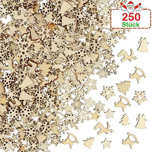 FHzytg 250 Stück Holzsterne zum Basteln, Holz Deko, Basteln Holz, Deko Holzsterne, Weihnachten Deko Holz, Holzsterne Mini Holz Chip, Basteln Deko Weihnachten, Scheiben Holz Deko für Handwerk DIY