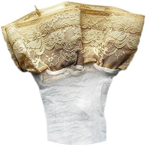 Halterlose Strümpfe 20 den leicht glänzend versch. Spitzenabschlüsse mit Silikon alle Farben und Größen für Braut Hochzeit (XXL, weiß-creme)