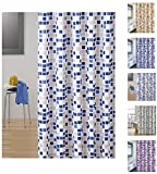 "MSV Cotexsa by 142100 Premium Anti-Schimmel Textil Duschvorhang - Anti-Bakteriell mit 12 Duschvorhangringen Mosaik"" Mehrfarbig 180x200cm – Made in Spain"
