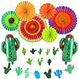 LUCK COLLECTION Party Dekorationen Fiesta Banner Kaktus Garland Cupcake Toppers Hanging Papier Fans für Fiesta Thema Jahrestag Baby Shower Dekorationen Bridal Shower
