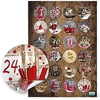 Calendario dell'avvento, con 24 numeri adesivi da 4 cm, per decorazione e fai da te