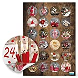 24 Adventskalenderzahlen 1 bis 24 zum Basteln Sticker Aufkleber Adventskalender Zahlen 4 cm Weihnachtskalender zum Papiertüten zukleben Fotomotive rot braun grün natur