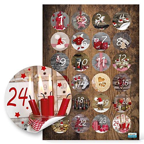 24 Adventskalenderzahlen zum Basteln; Sticker Aufkleber Adventskalender Zahlen, 4 cm zum Basteln und Dekorieren, 1a Qualität Fotomotive