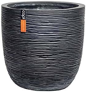 Capi Lux nervuré Œuf Pot de fleurs Noir, Matériaux mélangés, noir, 54x52cm