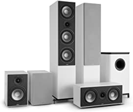 NUMAN Reference 851 • 5.1 Soundsystem • Heimkinosystem • 120 W • 2 x Standlautsprecher • 2 x Regallautsprecher • 1 x Center-Lautsprecher • 1 x Subwoofer • silberne Lautsprecherabdeckung • weiß