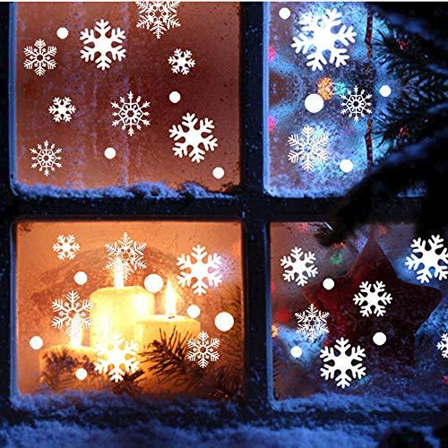 Beetop Fensterbilder Statisch Haftende PVC-Sticker Weihnachten Schneeflocken Fensterdeko Aufkleber Wandtattoo [Wiederverwendbar] Mit Schneekristallen Und Schneesternen (Schneeflocken) (Die Dekoration Mit Schneeflocken)