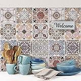 32 (Piezas) Adhesivo para Azulejos 15x15 cm - PS00058 - Carrara - Adhesivo Decorativo para Azulejos para baño y Cocina - Stickers Azulejos - Collage de Azulejos