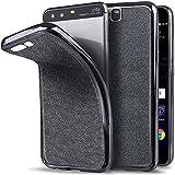 Moozy Huawei P10 Hülle Silikon Glitzer Case Grau Ultra Dünne Weiche Transparent TPU Silikon Bling Handy Schutzhülle mit Abnehmbarem Glitter