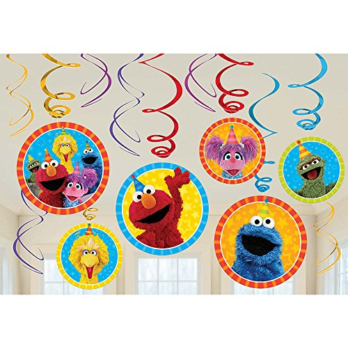 Sesame Street Elmo Dangling Swirl Decorations Birthday Party Supplies Favor Pack by (Sesame Street Supplies Party Birthday)