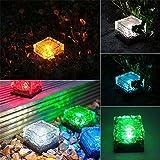 2pcs charmante Solar Pfad Ice Cube Lichter wasserdichte Farbwechsel LED Frosted Glas Brick Rock im Boden vergrabenen leuchtet für Pfad-Hof-Garten
