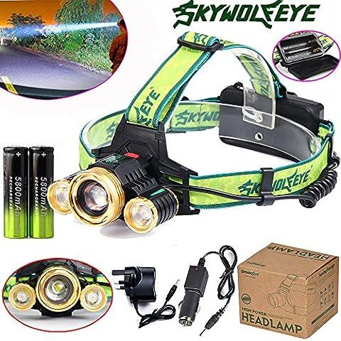 happytop Scheinwerfer 15000lm Scheinwerfer 3x XML T6wiederaufladbare Scheinwerfer zoomabletorch, damen Herren, Headlamp+Charger+Batteries