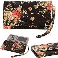 Conze Fashion Cell Phone Carrying piccola croce borsa con tracolla per GOOGLE NEXUS 6/6P/5/5x  Black + Flower