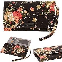 Conze moda teléfono celular Llevar bolsa pequeña con Cruz cuerpo correa para Lenovo P70 Black + Flower