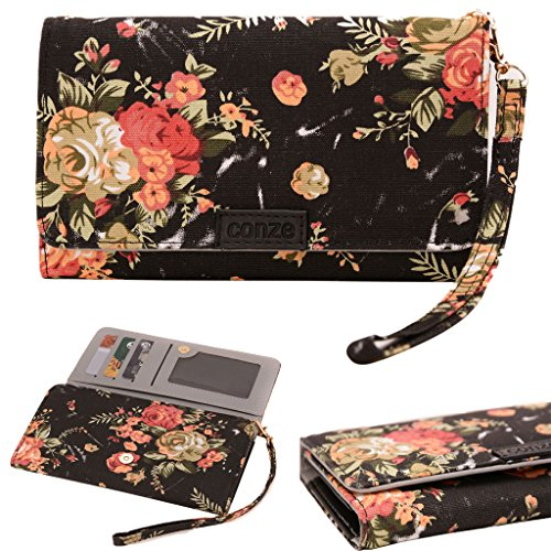 Conze Fashion Cell Phone Carrying piccola croce borsa con tracolla per Yezz Andy 5EI3/5EL LTE Black + Flower Black + Flower